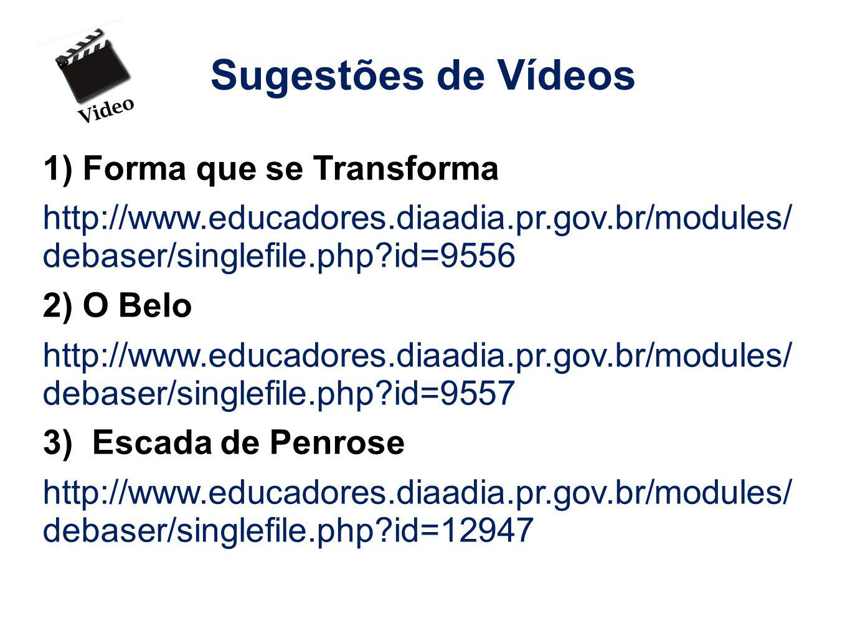 Sugestões de Vídeos 1) Forma que se Transforma http://www.educadores.diaadia.pr.gov.br/modules/ debaser/singlefile.php?id=9556 2) O Belo http://www.ed
