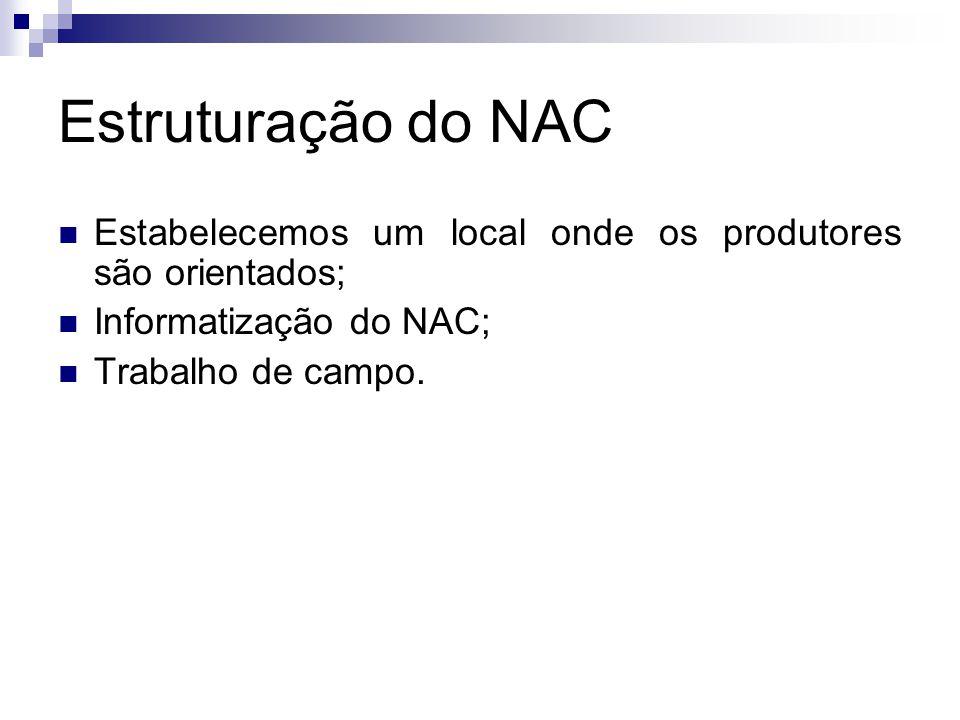 Estruturação do NAC Estabelecemos um local onde os produtores são orientados; Informatização do NAC; Trabalho de campo.