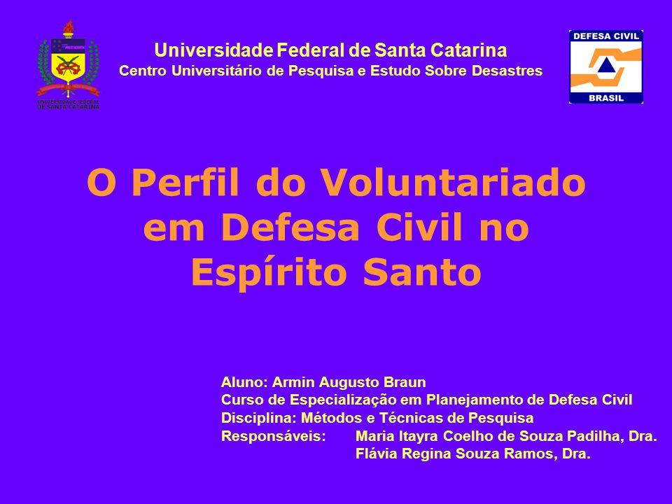 O Perfil do Voluntariado em Defesa Civil no Espírito Santo Aluno: Armin Augusto Braun Curso de Especialização em Planejamento de Defesa Civil Discipli