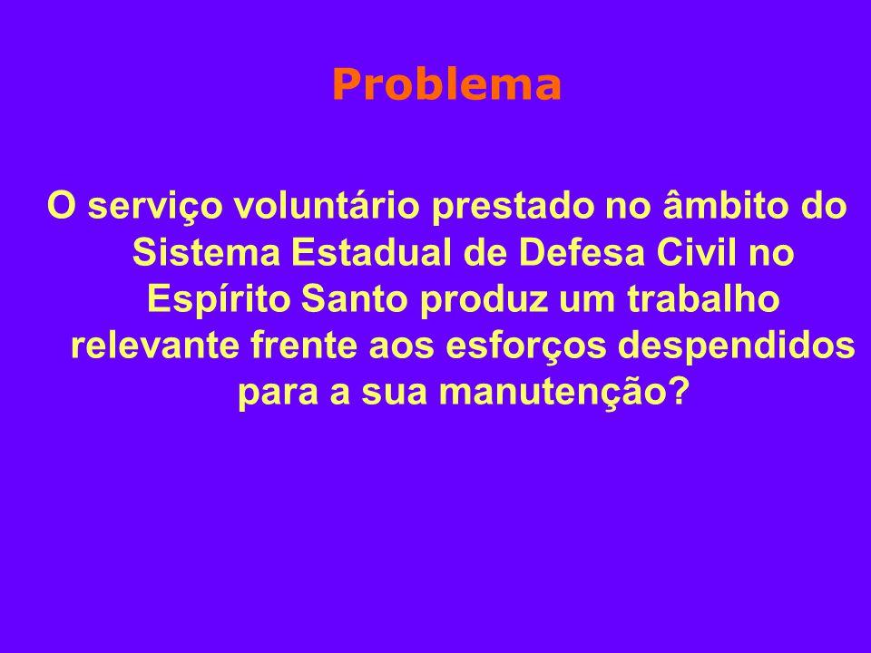 Problema O serviço voluntário prestado no âmbito do Sistema Estadual de Defesa Civil no Espírito Santo produz um trabalho relevante frente aos esforço