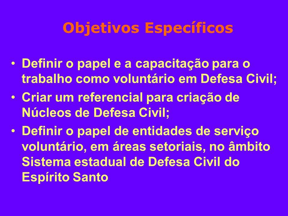 Objetivos Específicos Definir o papel e a capacitação para o trabalho como voluntário em Defesa Civil; Criar um referencial para criação de Núcleos de