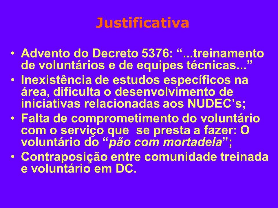 Justificativa Advento do Decreto 5376:...treinamento de voluntários e de equipes técnicas... Inexistência de estudos específicos na área, dificulta o