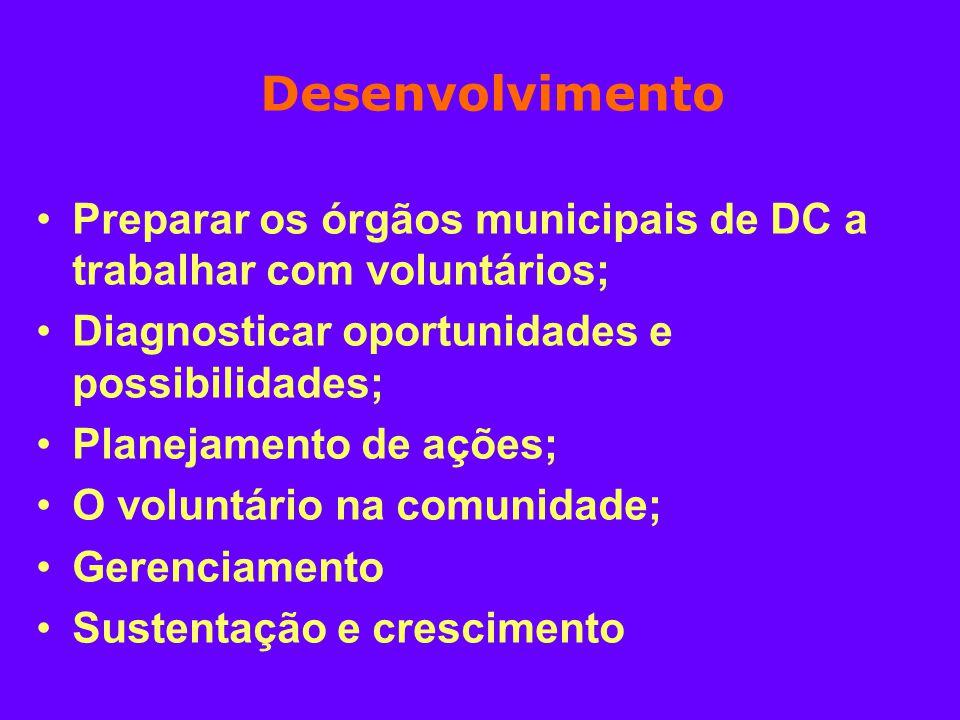 Desenvolvimento Preparar os órgãos municipais de DC a trabalhar com voluntários; Diagnosticar oportunidades e possibilidades; Planejamento de ações; O voluntário na comunidade; Gerenciamento Sustentação e crescimento