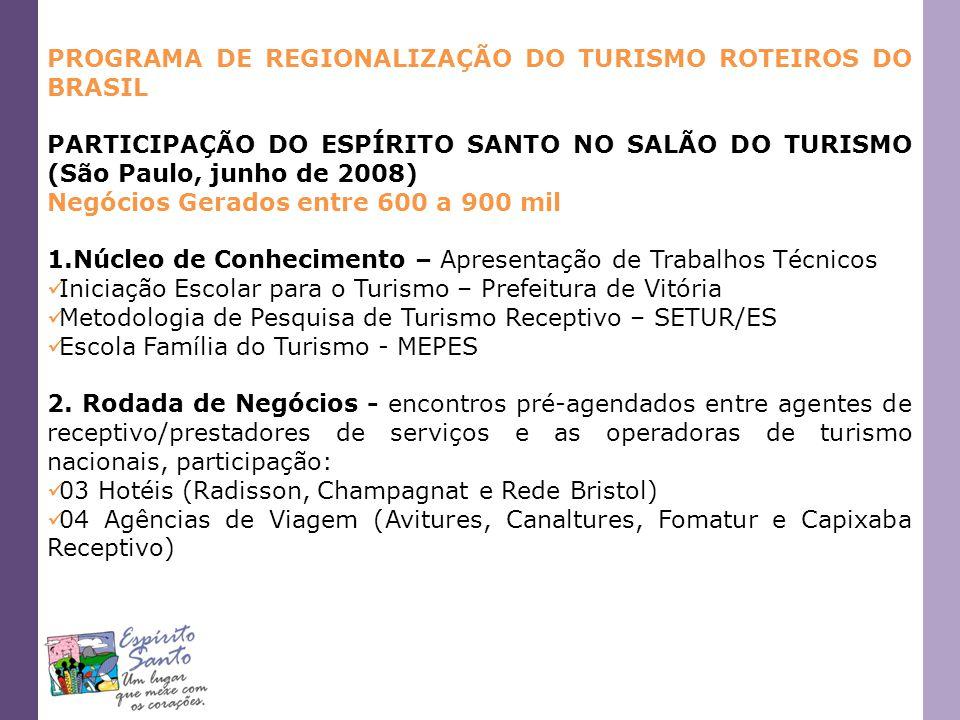 PROGRAMA DE REGIONALIZAÇÃO DO TURISMO ROTEIROS DO BRASIL PARTICIPAÇÃO DO ESPÍRITO SANTO NO SALÃO DO TURISMO (São Paulo, junho de 2008) Negócios Gerado