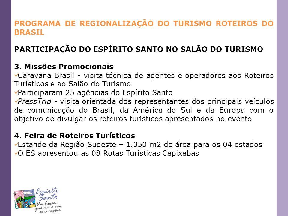 PROGRAMA DE REGIONALIZAÇÃO DO TURISMO ROTEIROS DO BRASIL PARTICIPAÇÃO DO ESPÍRITO SANTO NO SALÃO DO TURISMO 3. Missões Promocionais Caravana Brasil -