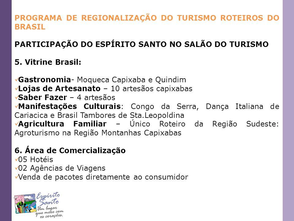 PROGRAMA DE REGIONALIZAÇÃO DO TURISMO ROTEIROS DO BRASIL PARTICIPAÇÃO DO ESPÍRITO SANTO NO SALÃO DO TURISMO 5. Vitrine Brasil: Gastronomia- Moqueca Ca