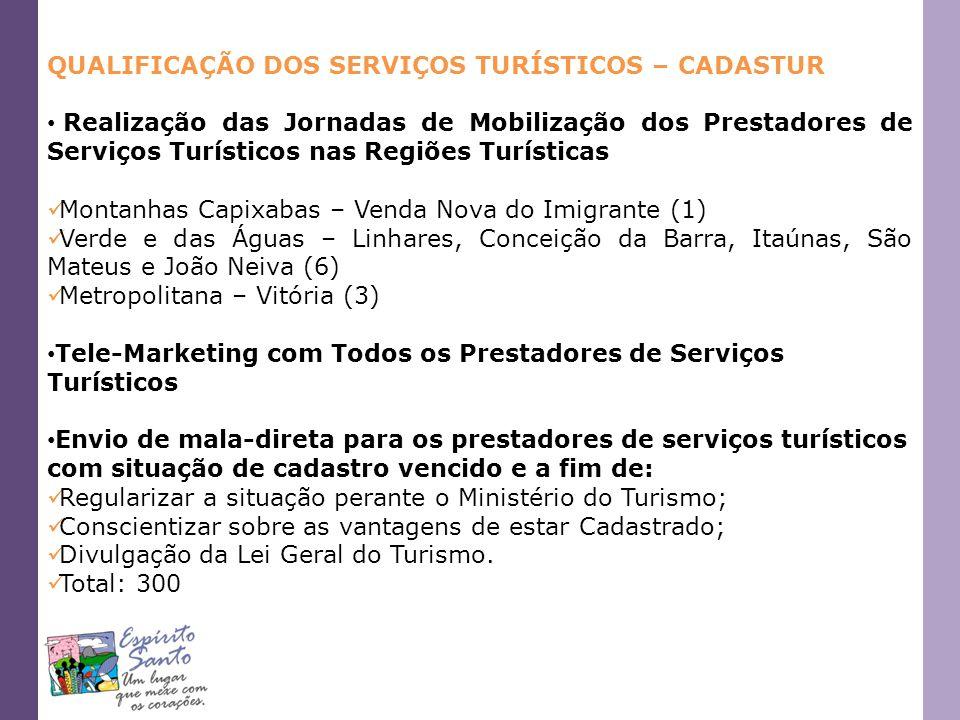 QUALIFICAÇÃO DOS SERVIÇOS TURÍSTICOS – CADASTUR Realização das Jornadas de Mobilização dos Prestadores de Serviços Turísticos nas Regiões Turísticas M