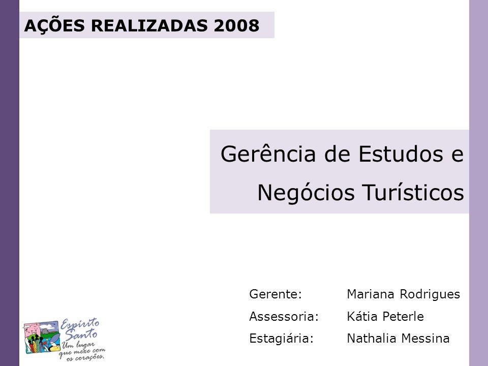 AÇÕES REALIZADAS 2008 Gerência de Estudos e Negócios Turísticos Gerente:Mariana Rodrigues Assessoria:Kátia Peterle Estagiária:Nathalia Messina