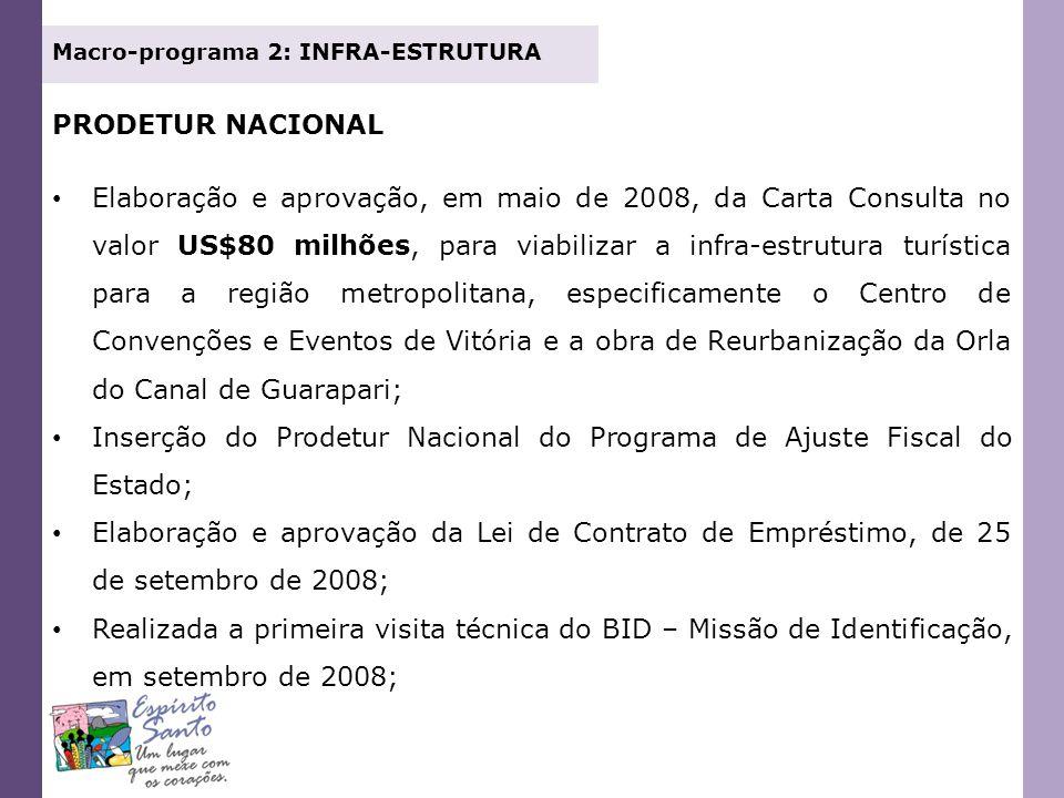 PRODETUR NACIONAL Elaboração e aprovação, em maio de 2008, da Carta Consulta no valor US$80 milhões, para viabilizar a infra-estrutura turística para