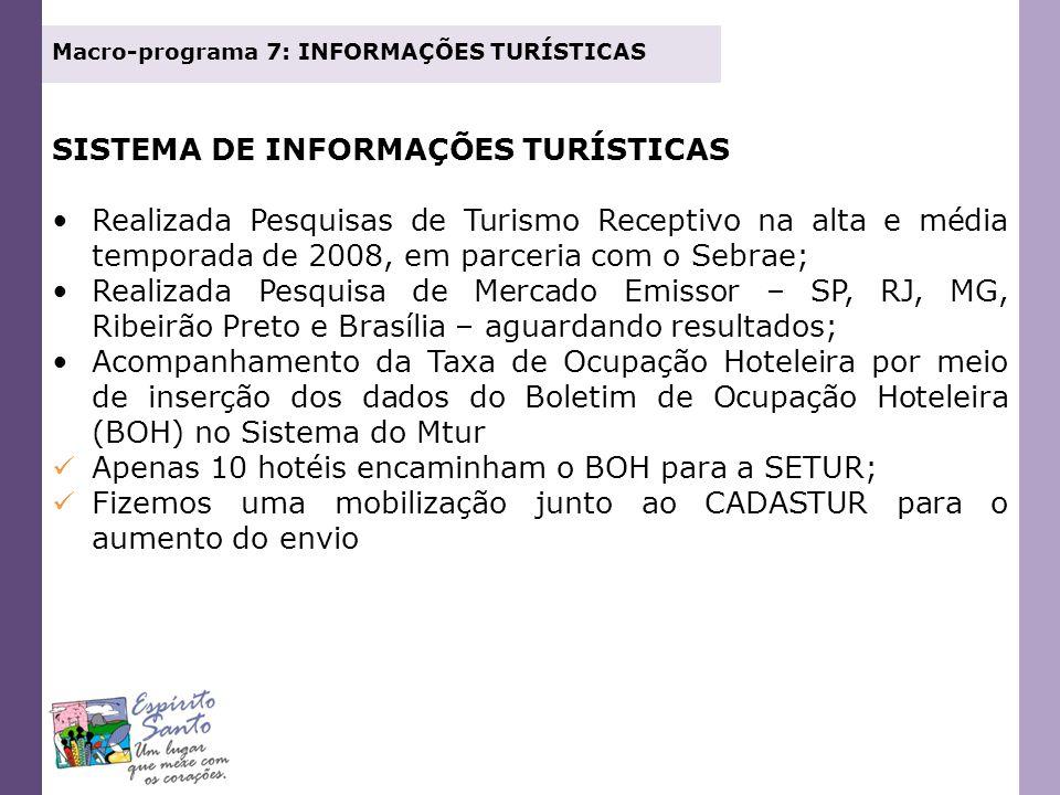 SISTEMA DE INFORMAÇÕES TURÍSTICAS Realizada Pesquisas de Turismo Receptivo na alta e média temporada de 2008, em parceria com o Sebrae; Realizada Pesq