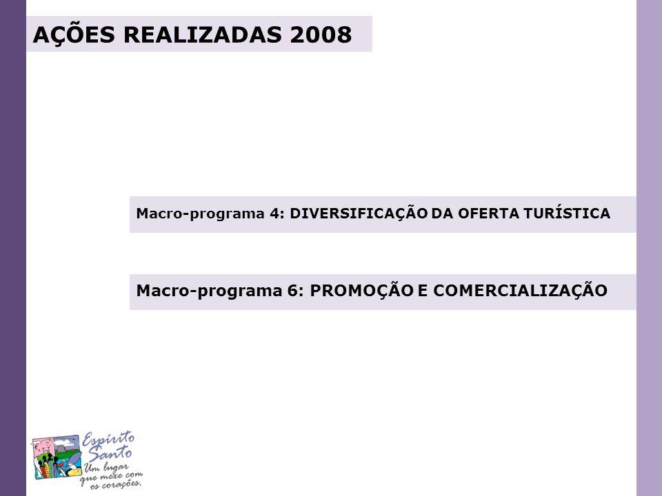 Macro-programa 4: DIVERSIFICAÇÃO DA OFERTA TURÍSTICA Macro-programa 6: PROMOÇÃO E COMERCIALIZAÇÃO AÇÕES REALIZADAS 2008