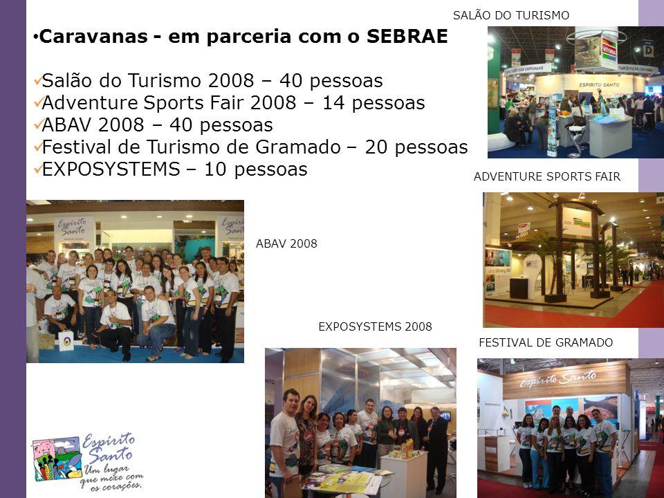 Caravanas - em parceria com o SEBRAE Salão do Turismo 2008 – 40 pessoas Adventure Sports Fair 2008 – 14 pessoas ABAV 2008 – 40 pessoas Festival de Tur
