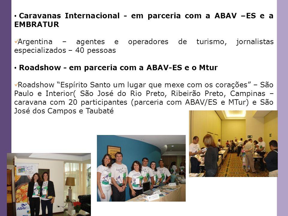 Caravanas Internacional - em parceria com a ABAV –ES e a EMBRATUR Argentina – agentes e operadores de turismo, jornalistas especializados – 40 pessoas