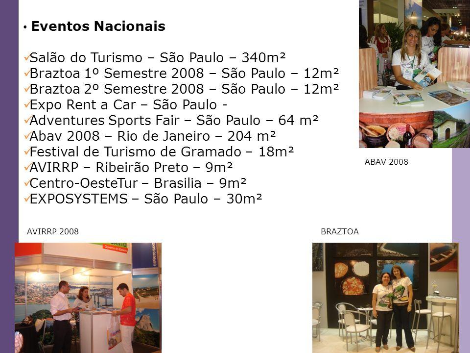 Eventos Nacionais Salão do Turismo – São Paulo – 340m² Braztoa 1º Semestre 2008 – São Paulo – 12m² Braztoa 2º Semestre 2008 – São Paulo – 12m² Expo Re