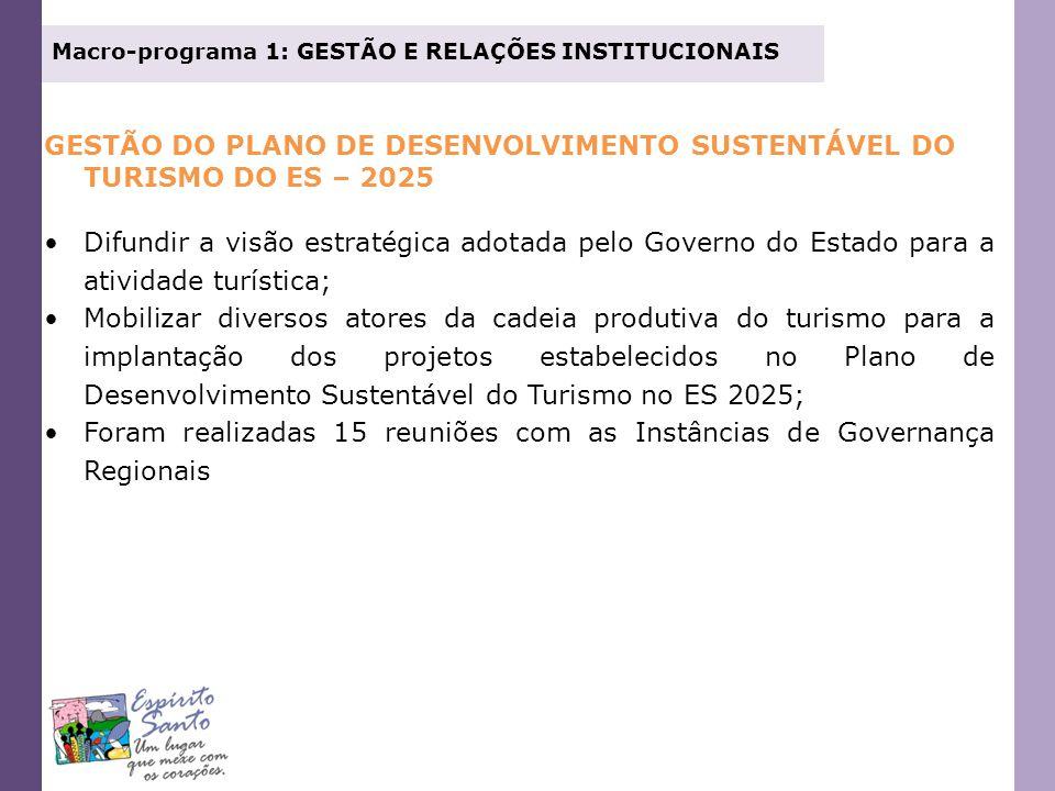 Macro-programa 1: GESTÃO E RELAÇÕES INSTITUCIONAIS PROJETO GESTÃO INTEGRADA - FORTALECIMENTO DAS INSTÂNCIAS DE GOVERNANÇA MACRORREGIONAL, ESTADUAL, REGIONAIS E MUNICIPAIS Celebração de convênios com as seguintes instituições: Agência de Desenvolvimento do Turismo da Macrorregião Sudeste do Brasil – ADETUR/SE Agência de Desenvolvimento do Turismo da Região Metropolitana – ADETUR/Metropolitana Agência de Desenvolvimento do Turismo da Região do Verde e das Águas Associação Montanhas Capixabas Turismo & Eventos Região Turística do Caparaó Conselho de Turismo da Região dos Imigrantes – CONTURI Consórcio de Desenvolvimento Sustentável da Região dos Vales e do Café.