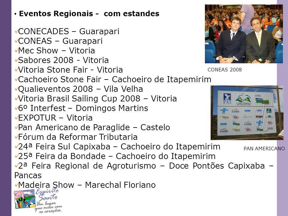 Eventos Regionais - com estandes CONECADES – Guarapari CONEAS – Guarapari Mec Show – Vitoria Sabores 2008 - Vitoria Vitoria Stone Fair - Vitoria Cacho