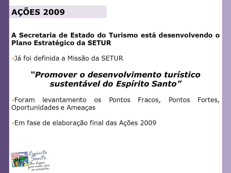 AÇÕES 2009 A Secretaria de Estado do Turismo está desenvolvendo o Plano Estratégico da SETUR Já foi definida a Missão da SETUR Promover o desenvolvime