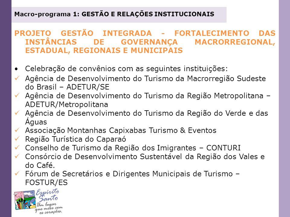 Macro-programa 1: GESTÃO E RELAÇÕES INSTITUCIONAIS PROJETO GESTÃO INTEGRADA - FORTALECIMENTO DAS INSTÂNCIAS DE GOVERNANÇA MACRORREGIONAL, ESTADUAL, RE