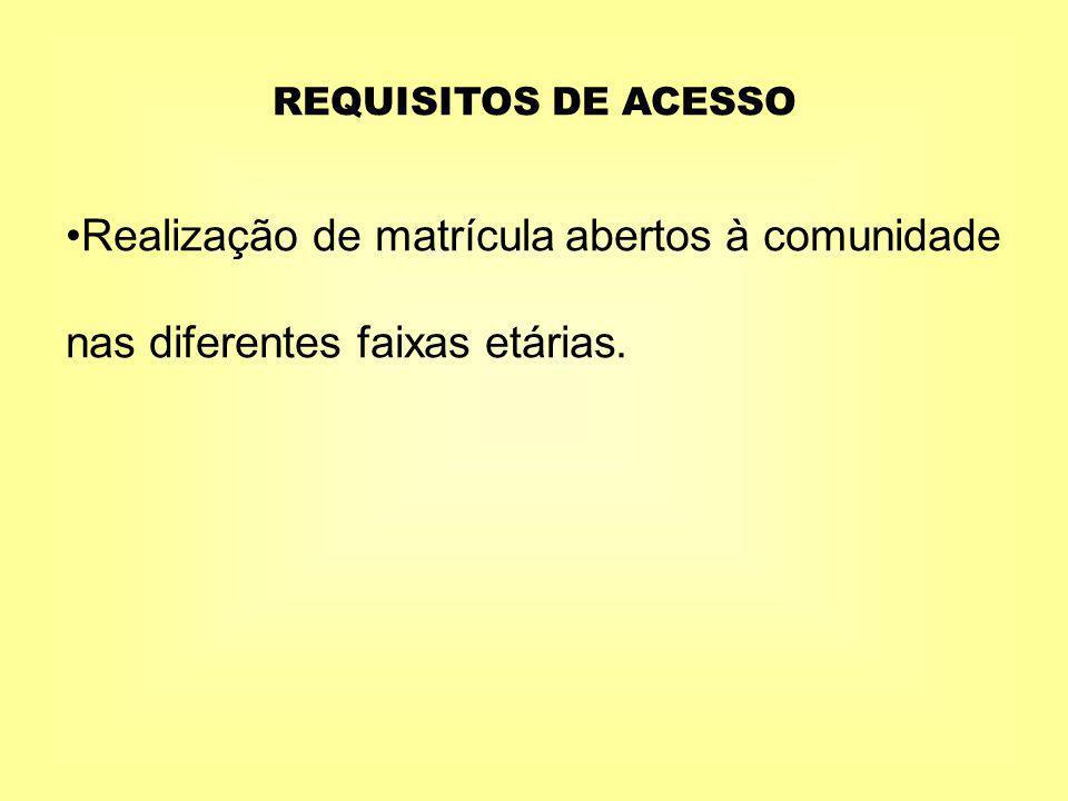 REQUISITOS DE ACESSO Realização de matrícula abertos à comunidade nas diferentes faixas etárias.