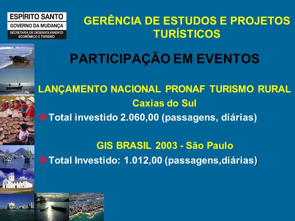 PARTICIPAÇÃO EM EVENTOS LANÇAMENTO NACIONAL PRONAF TURISMO RURAL Caxias do Sul Total investido 2.060,00 (passagens, diárias) GIS BRASIL 2003 - São Paulo ) Total Investido: 1.012,00 (passagens,diárias ) GERÊNCIA DE ESTUDOS E PROJETOS TURÍSTICOS