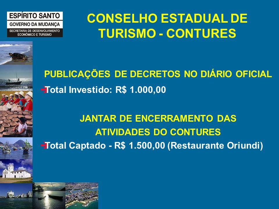 CONSELHO ESTADUAL DE TURISMO - CONTURES PUBLICAÇÕES DE DECRETOS NO DIÁRIO OFICIAL Total Investido: R$ 1.000,00 JANTAR DE ENCERRAMENTO DAS ATIVIDADES DO CONTURES Total Captado - R$ 1.500,00 (Restaurante Oriundi)