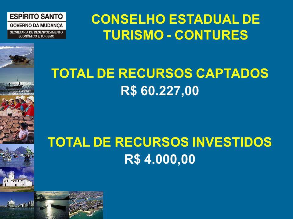 CONSELHO ESTADUAL DE TURISMO - CONTURES TOTAL DE RECURSOS CAPTADOS R$ 60.227,00 TOTAL DE RECURSOS INVESTIDOS R$ 4.000,00