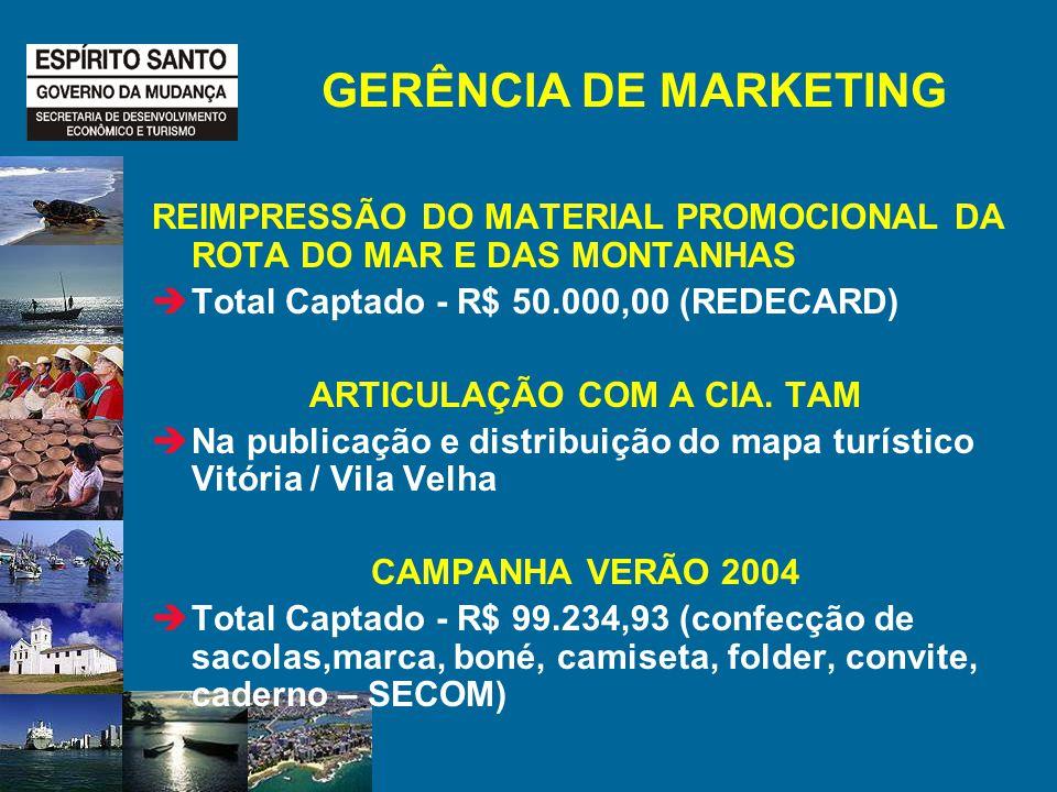 GERÊNCIA DE MARKETING REIMPRESSÃO DO MATERIAL PROMOCIONAL DA ROTA DO MAR E DAS MONTANHAS Total Captado - R$ 50.000,00 (REDECARD) ARTICULAÇÃO COM A CIA.