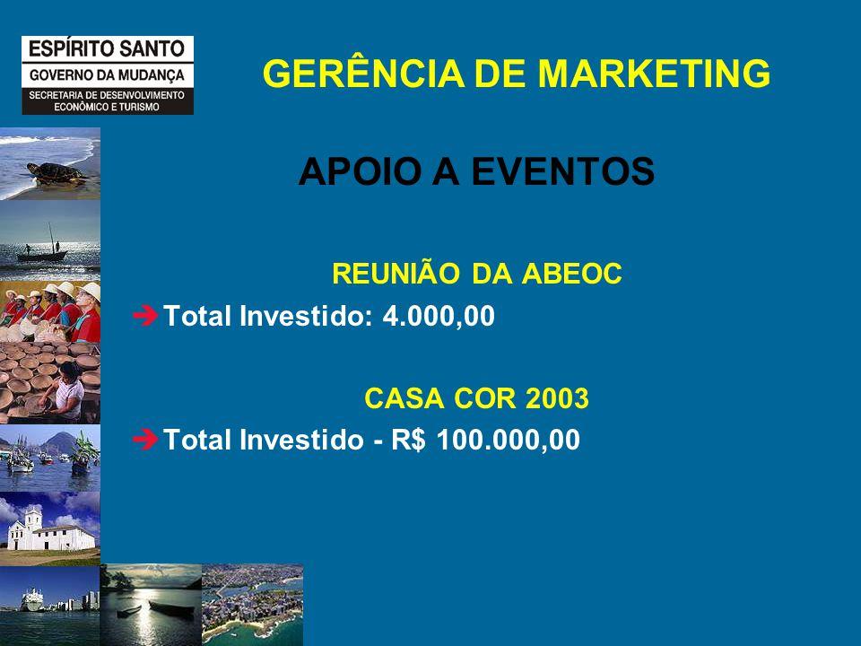 GERÊNCIA DE MARKETING APOIO A EVENTOS REUNIÃO DA ABEOC Total Investido: 4.000,00 CASA COR 2003 Total Investido - R$ 100.000,00