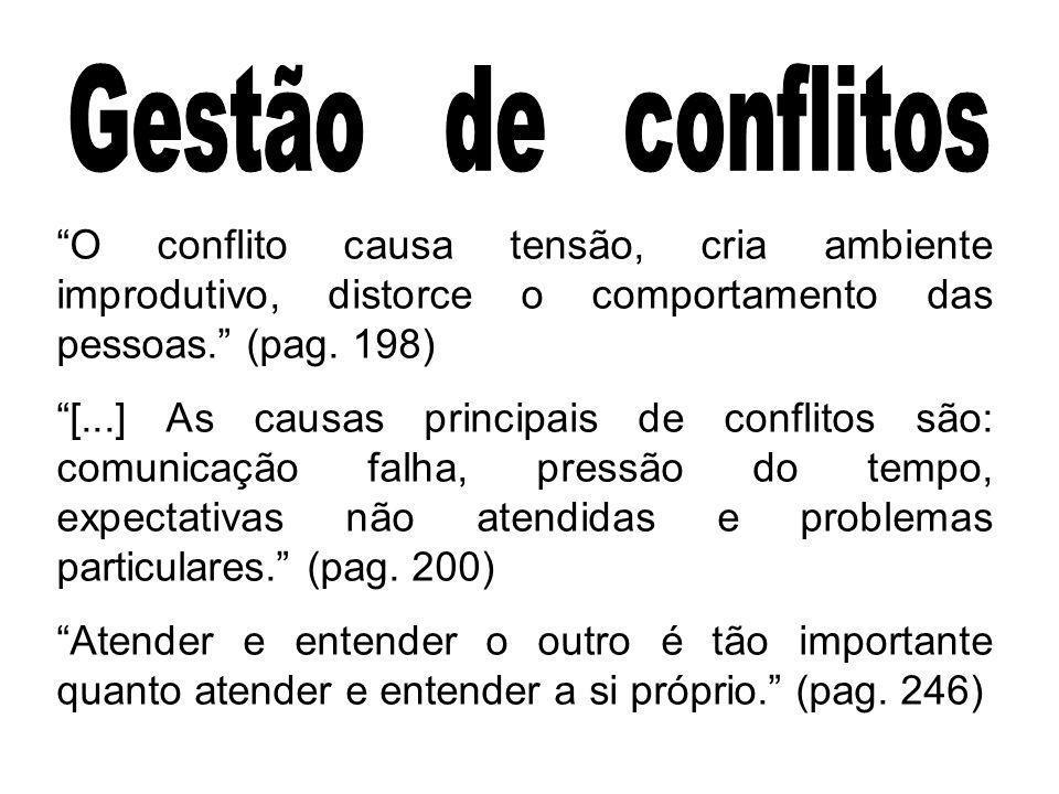 O conflito causa tensão, cria ambiente improdutivo, distorce o comportamento das pessoas. (pag. 198) [...] As causas principais de conflitos são: comu