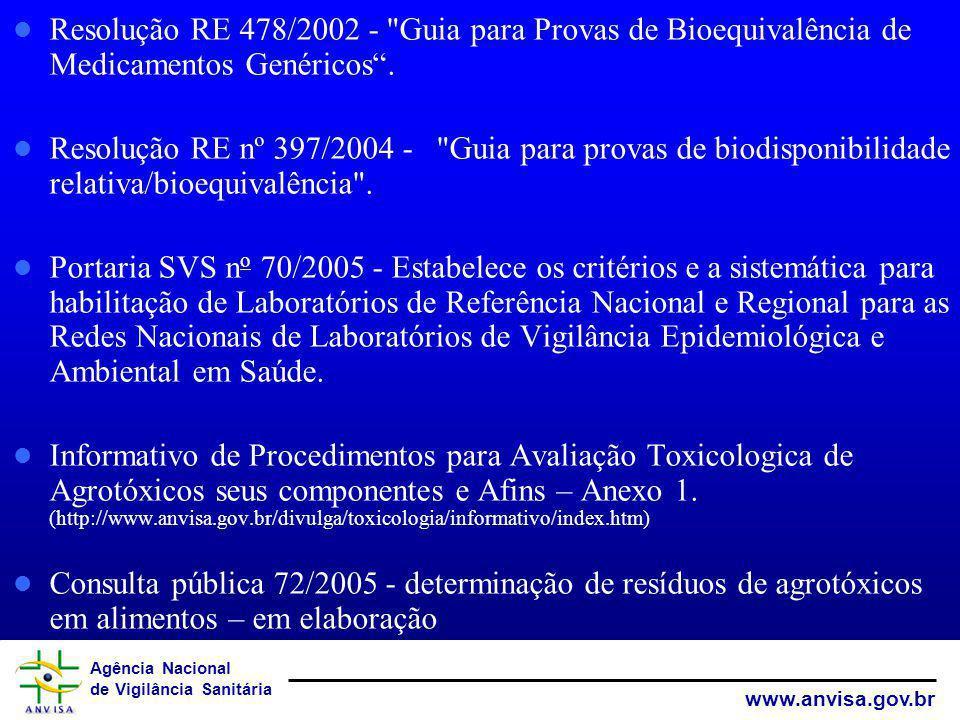 Agência Nacional de Vigilância Sanitária www.anvisa.gov.br Resolução RE 478/2002 -