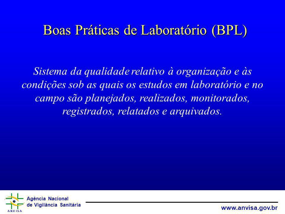 Agência Nacional de Vigilância Sanitária www.anvisa.gov.br Boas Práticas de Laboratório (BPL) Sistema da qualidade relativo à organização e às condiçõ