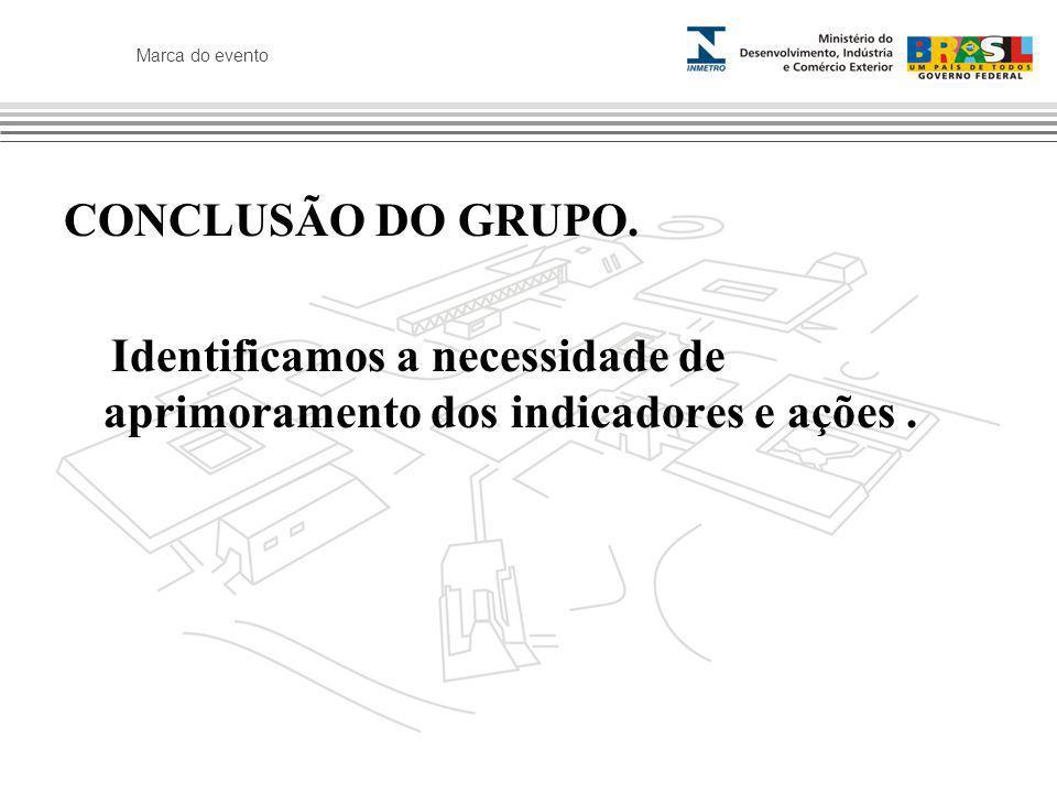 Marca do evento CONCLUSÃO DO GRUPO. Identificamos a necessidade de aprimoramento dos indicadores e ações.