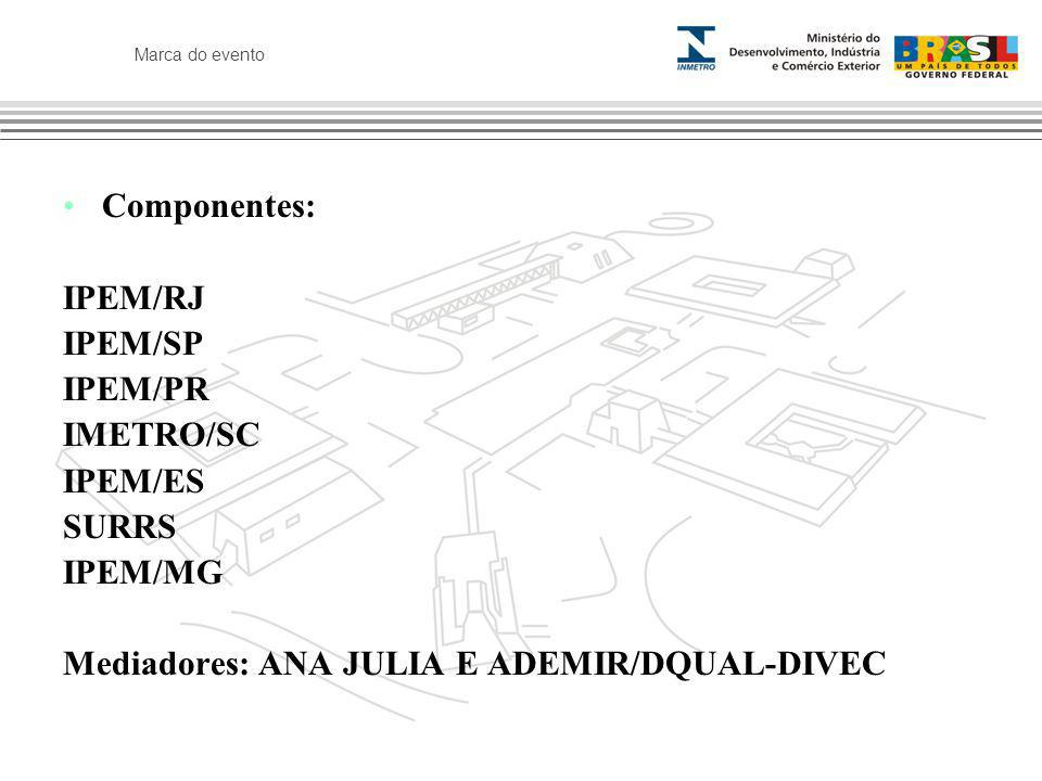 Marca do evento Componentes: IPEM/RJ IPEM/SP IPEM/PR IMETRO/SC IPEM/ES SURRS IPEM/MG Mediadores: ANA JULIA E ADEMIR/DQUAL-DIVEC