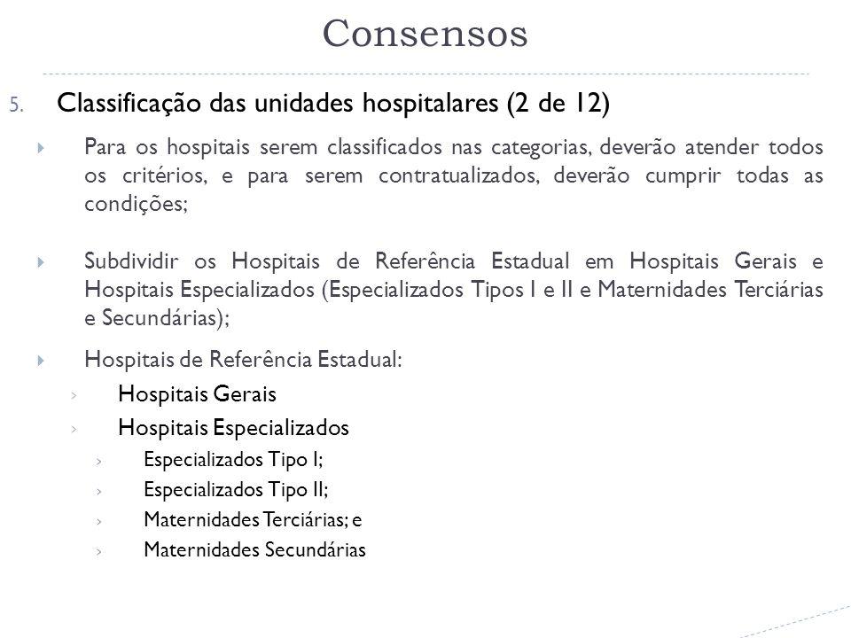 5. Classificação das unidades hospitalares (2 de 12) Para os hospitais serem classificados nas categorias, deverão atender todos os critérios, e para