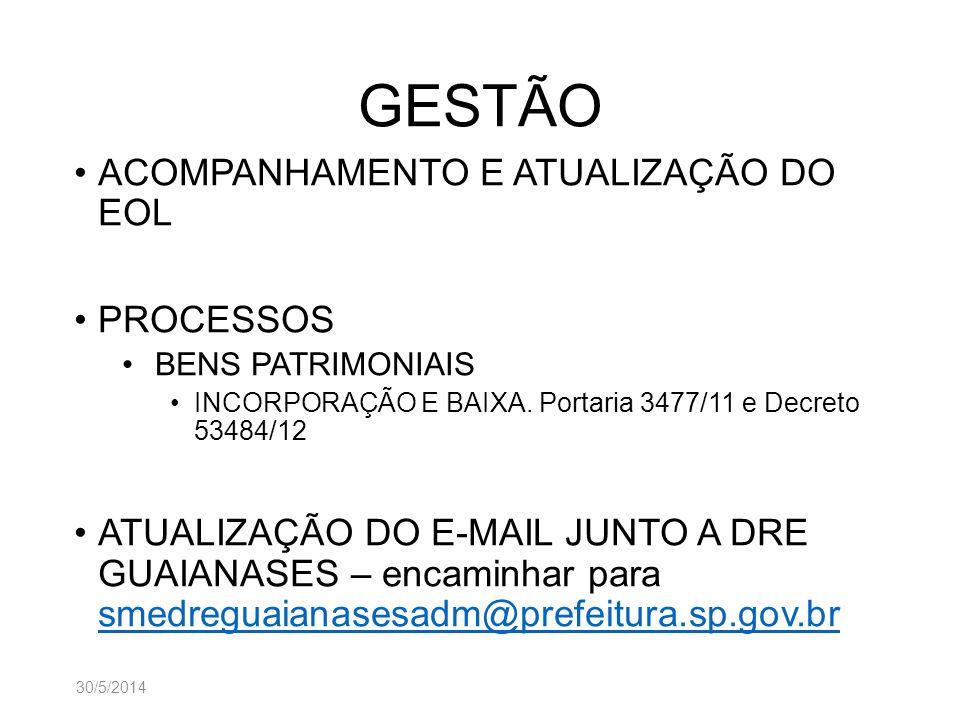 GESTÃO ACOMPANHAMENTO E ATUALIZAÇÃO DO EOL PROCESSOS BENS PATRIMONIAIS INCORPORAÇÃO E BAIXA. Portaria 3477/11 e Decreto 53484/12 ATUALIZAÇÃO DO E-MAIL