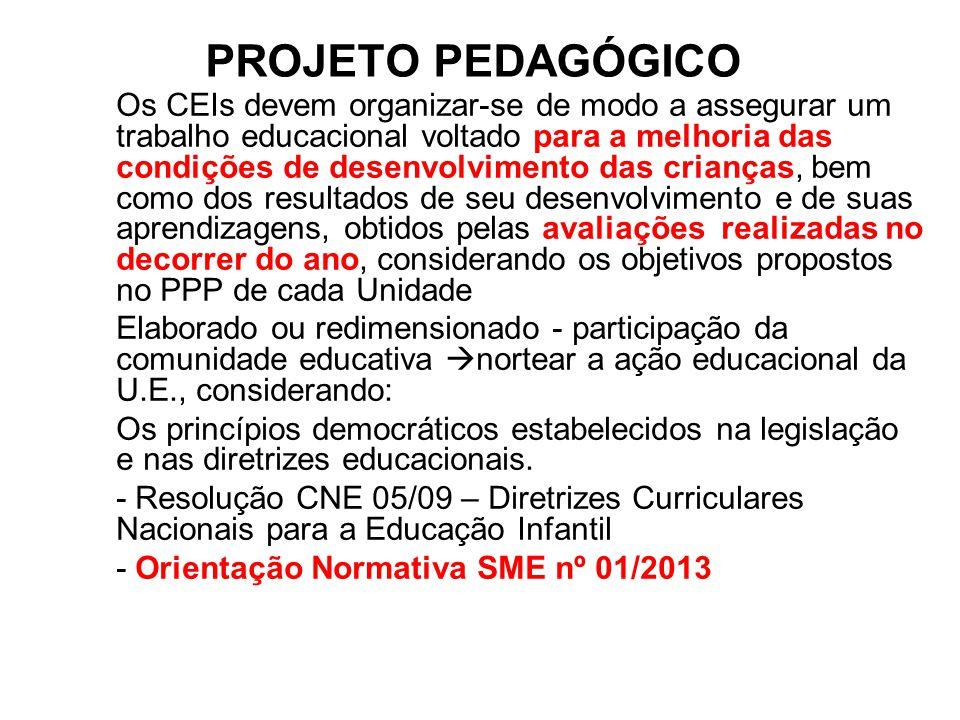 PROJETO PEDAGÓGICO Os CEIs devem organizar-se de modo a assegurar um trabalho educacional voltado para a melhoria das condições de desenvolvimento das