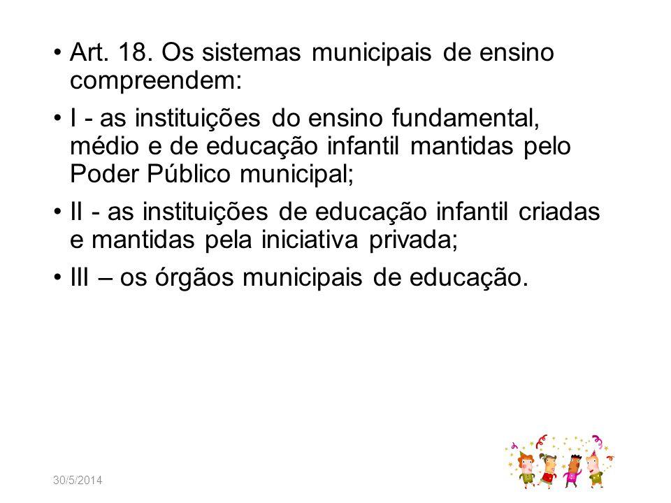 Art. 18. Os sistemas municipais de ensino compreendem: I - as instituições do ensino fundamental, médio e de educação infantil mantidas pelo Poder Púb