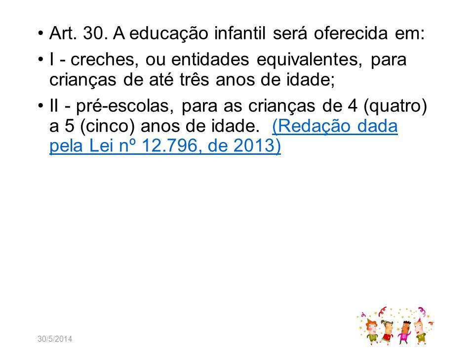Art. 30. A educação infantil será oferecida em: I - creches, ou entidades equivalentes, para crianças de até três anos de idade; II - pré-escolas, par