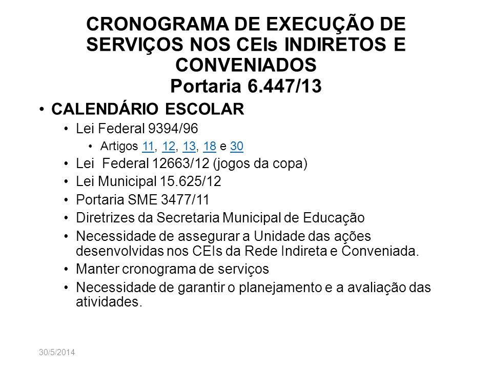 CRONOGRAMA DE EXECUÇÃO DE SERVIÇOS NOS CEIs INDIRETOS E CONVENIADOS Portaria 6.447/13 CALENDÁRIO ESCOLAR Lei Federal 9394/96 Artigos 11, 12, 13, 18 e