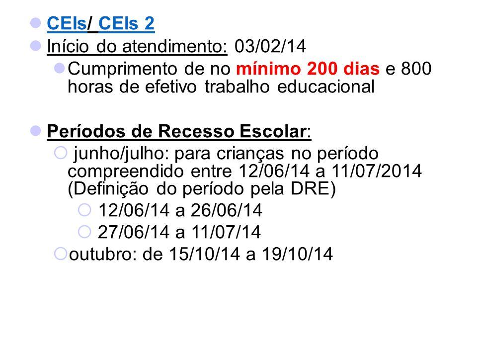 CEIs/ CEIs 2 CEIsCEIs 2 Início do atendimento: 03/02/14 Cumprimento de no mínimo 200 dias e 800 horas de efetivo trabalho educacional Períodos de Rece