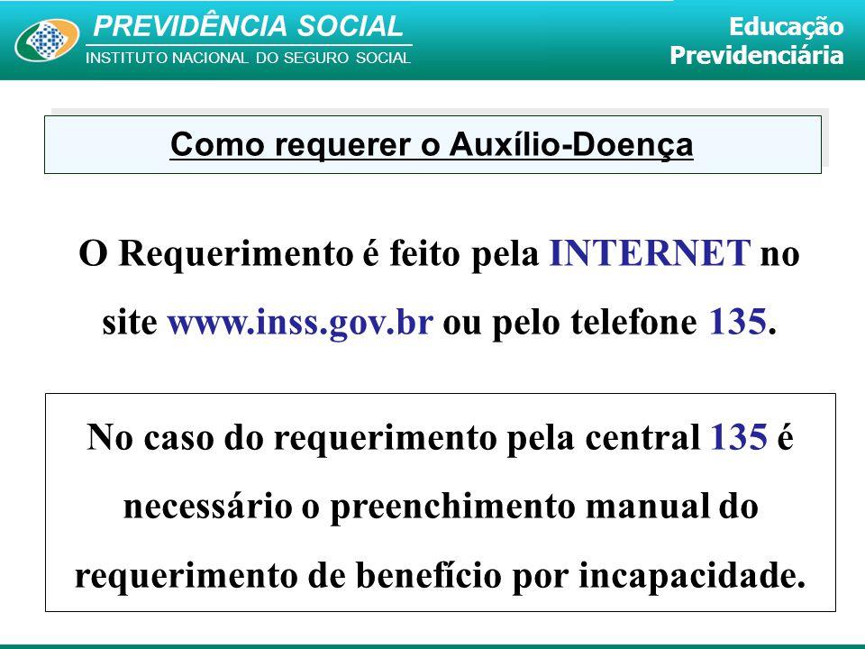PREVIDÊNCIA SOCIAL INSTITUTO NACIONAL DO SEGURO SOCIAL Educação Previdenciária Como requerer o Auxílio-Doença O Requerimento é feito pela INTERNET no