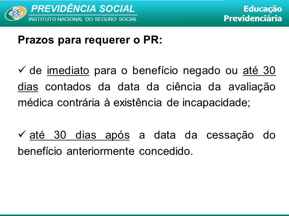 PREVIDÊNCIA SOCIAL INSTITUTO NACIONAL DO SEGURO SOCIAL Educação Previdenciária Prazos para requerer o PR: de imediato para o benefício negado ou até 3