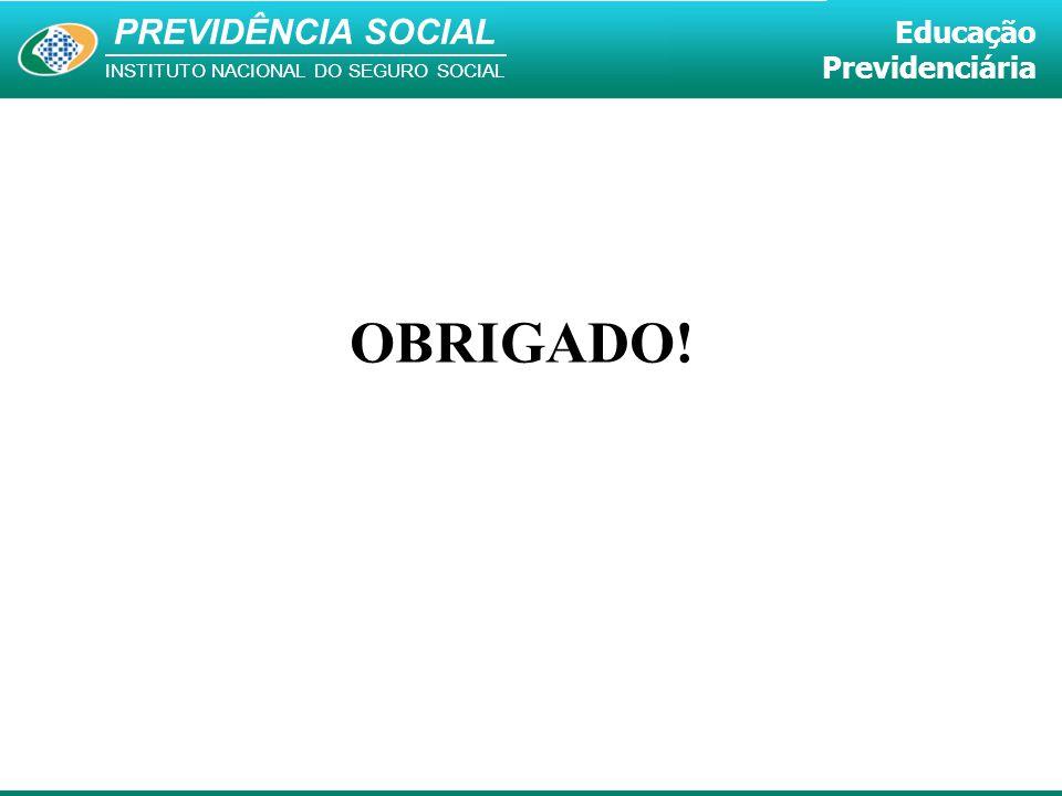 PREVIDÊNCIA SOCIAL INSTITUTO NACIONAL DO SEGURO SOCIAL Educação Previdenciária OBRIGADO!