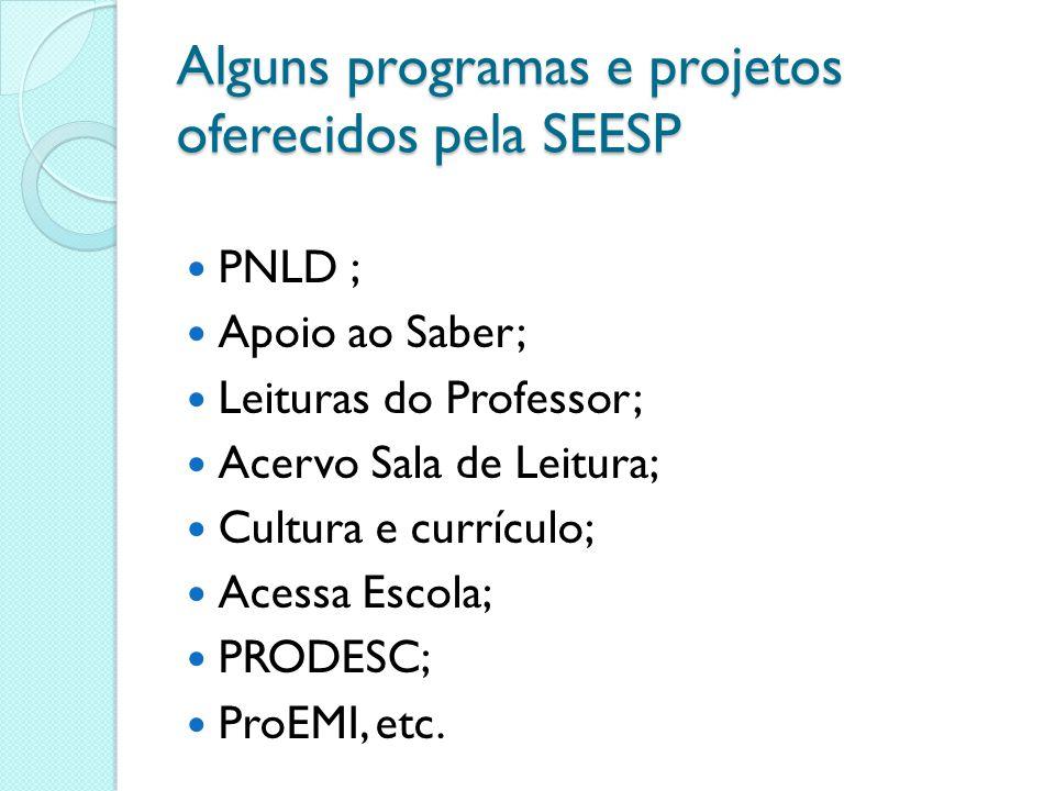 Alguns programas e projetos oferecidos pela SEESP PNLD ; Apoio ao Saber; Leituras do Professor; Acervo Sala de Leitura; Cultura e currículo; Acessa Es