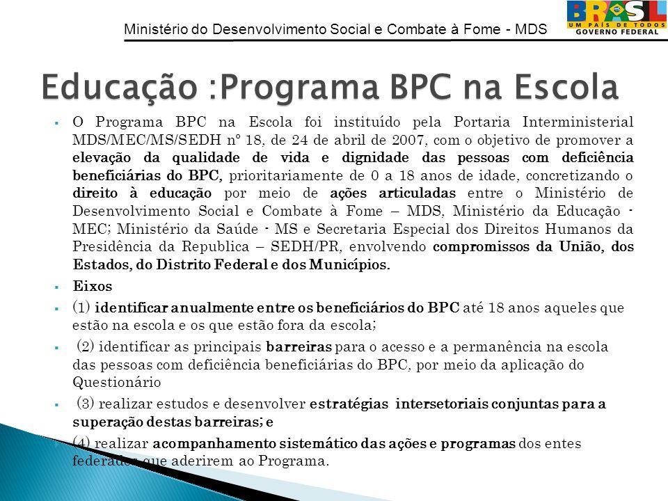Ministério do Desenvolvimento Social e Combate à Fome - MDS O Programa BPC na Escola foi instituído pela Portaria Interministerial MDS/MEC/MS/SEDH nº