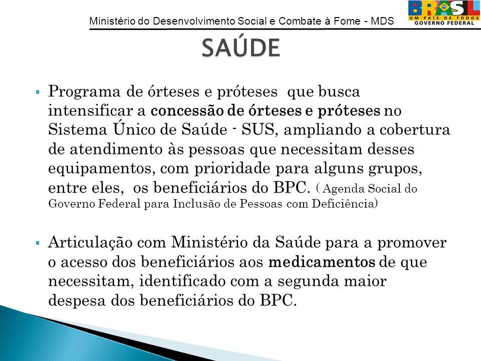 Ministério do Desenvolvimento Social e Combate à Fome - MDS Programa de órteses e próteses que busca intensificar a concessão de órteses e próteses no