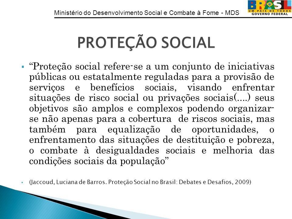 Ministério do Desenvolvimento Social e Combate à Fome - MDS Proteção social refere-se a um conjunto de iniciativas públicas ou estatalmente reguladas