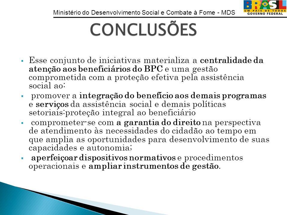 Ministério do Desenvolvimento Social e Combate à Fome - MDS Esse conjunto de iniciativas materializa a centralidade da atenção aos beneficiários do BP