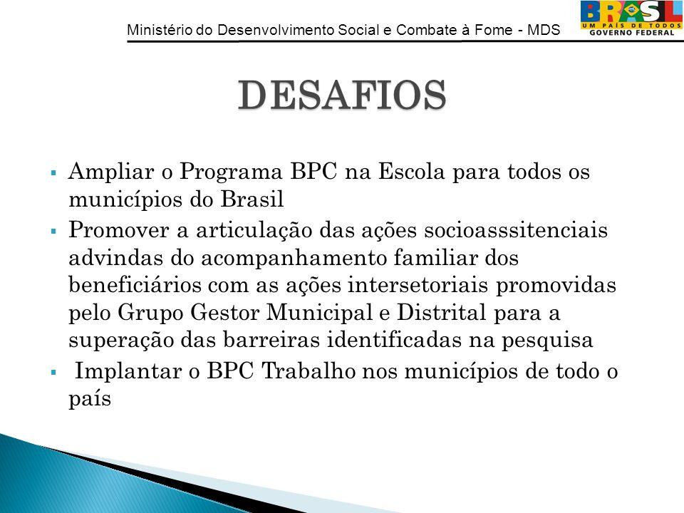 Ministério do Desenvolvimento Social e Combate à Fome - MDS Ampliar o Programa BPC na Escola para todos os municípios do Brasil Promover a articulação
