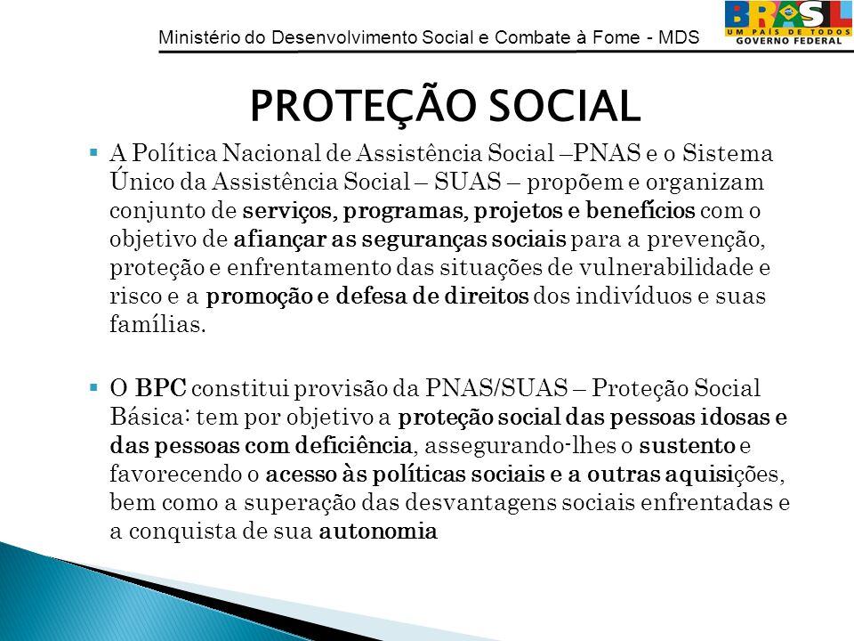 Ministério do Desenvolvimento Social e Combate à Fome - MDS PROTEÇÃO SOCIAL A Política Nacional de Assistência Social –PNAS e o Sistema Único da Assis